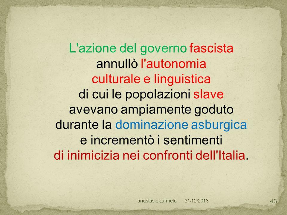 L azione del governo fascista annullò l autonomia