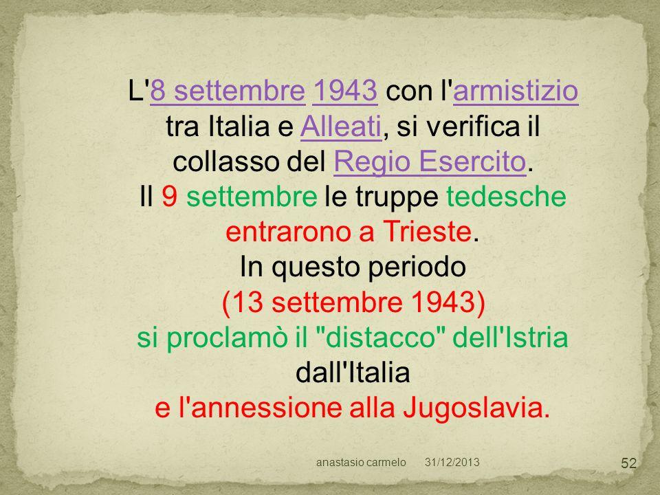L 8 settembre 1943 con l armistizio