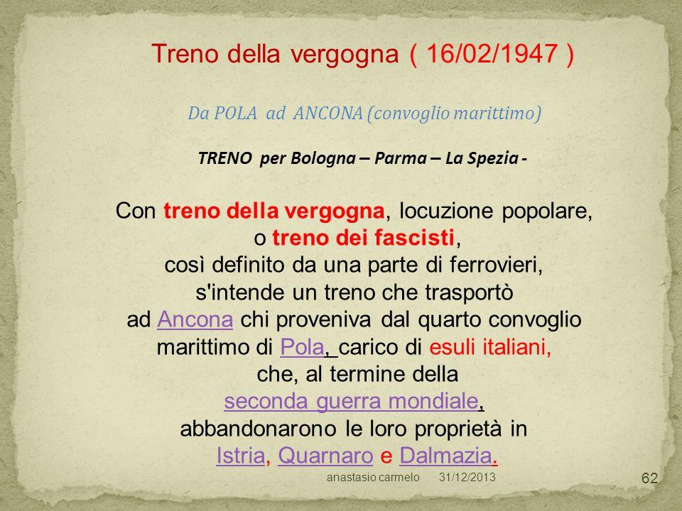 TRENO per Bologna – Parma – La Spezia -