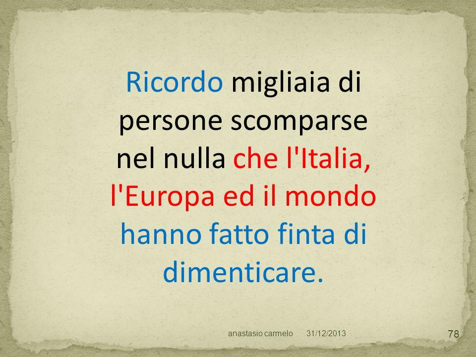 Ricordo migliaia di persone scomparse nel nulla che l Italia, l Europa ed il mondo hanno fatto finta di dimenticare.