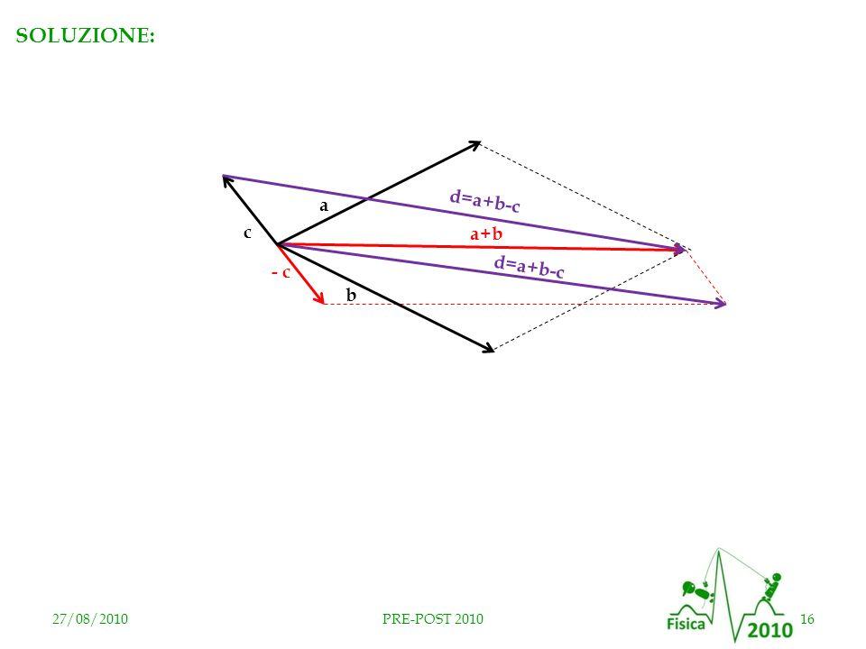 RISPOSTA D SOLUZIONE: d=a+b-c a c a+b d=a+b-c - c b 27/08/2010