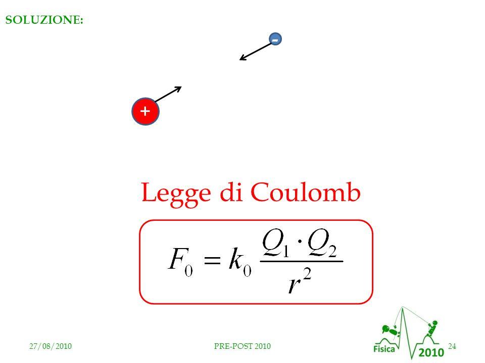 SOLUZIONE: + - Legge di Coulomb RISPOSTA E 27/08/2010 PRE-POST 2010
