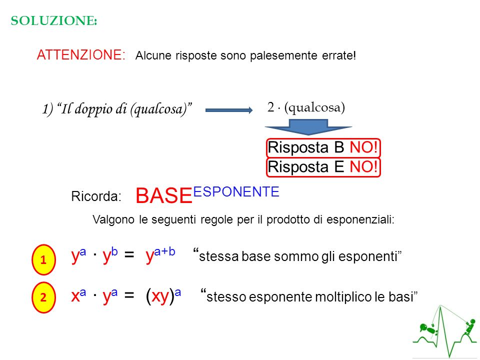 Valgono le seguenti regole per il prodotto di esponenziali: