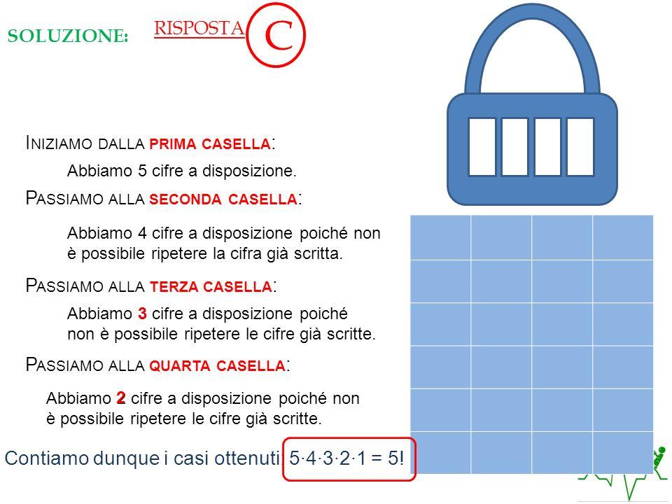 C 1 2 3 4 5 Contiamo dunque i casi ottenuti: 5∙4∙3∙2∙1 = 5! RISPOSTA
