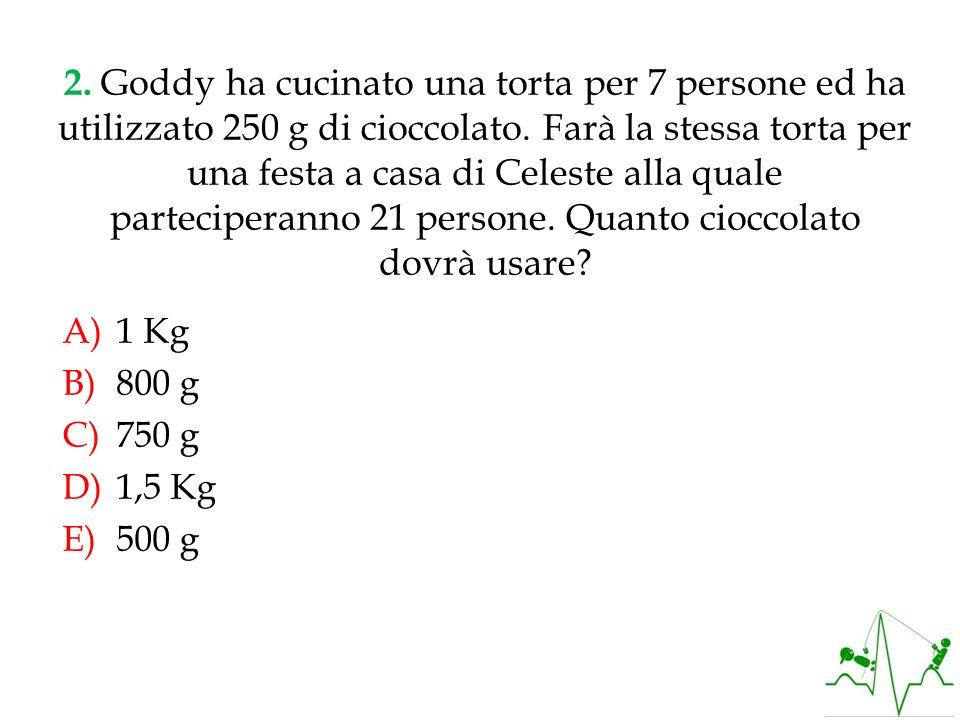 2. Goddy ha cucinato una torta per 7 persone ed ha utilizzato 250 g di cioccolato. Farà la stessa torta per una festa a casa di Celeste alla quale parteciperanno 21 persone. Quanto cioccolato dovrà usare