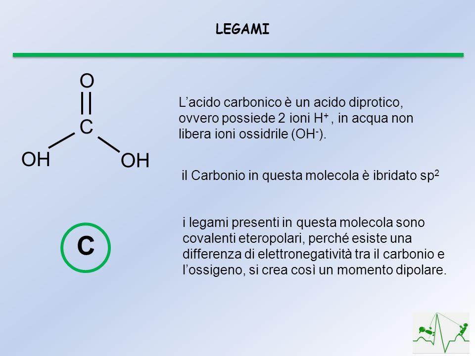 LEGAMI O. OH. C. L'acido carbonico è un acido diprotico, ovvero possiede 2 ioni H+ , in acqua non libera ioni ossidrile (OH-).
