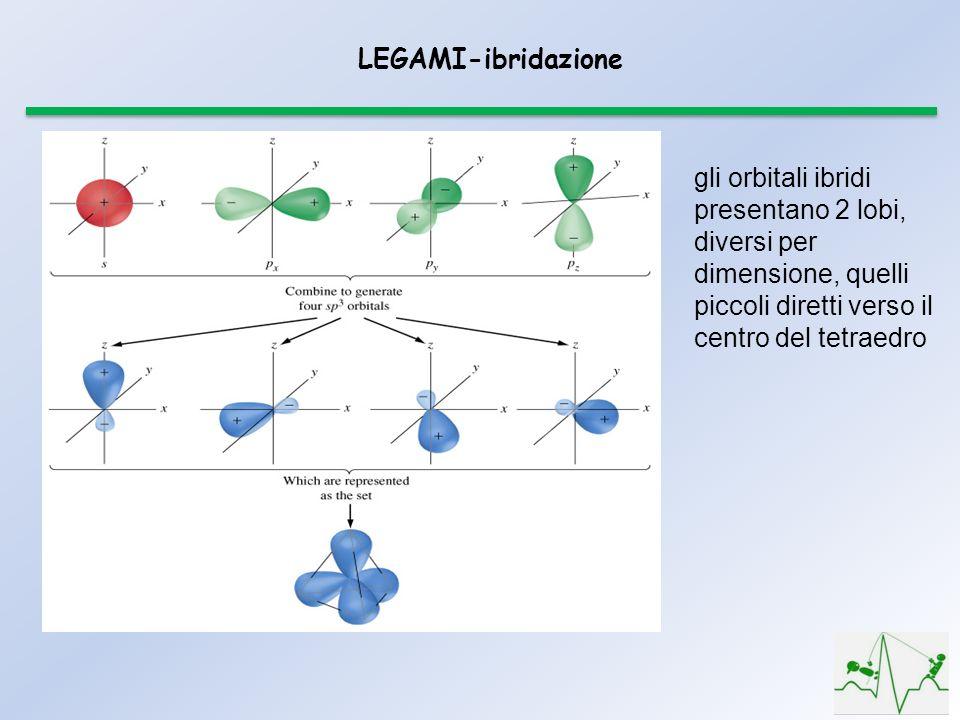 LEGAMI-ibridazione gli orbitali ibridi presentano 2 lobi, diversi per dimensione, quelli piccoli diretti verso il centro del tetraedro.