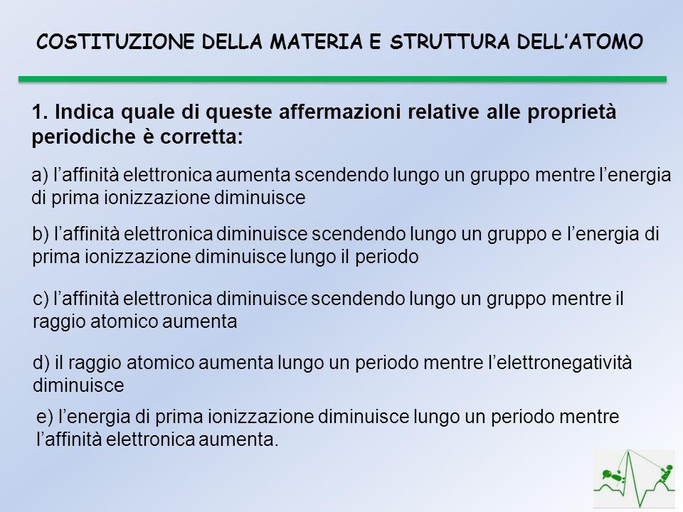 COSTITUZIONE DELLA MATERIA E STRUTTURA DELL'ATOMO