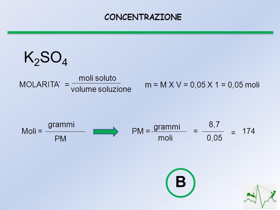 K2SO4 B CONCENTRAZIONE moli soluto volume soluzione MOLARITA' =