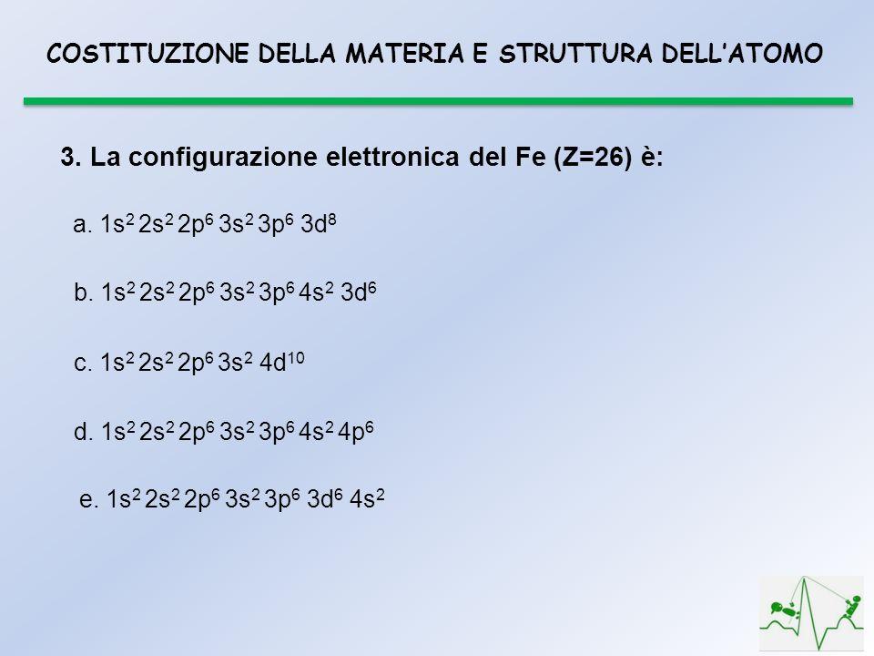 3. La configurazione elettronica del Fe (Z=26) è: