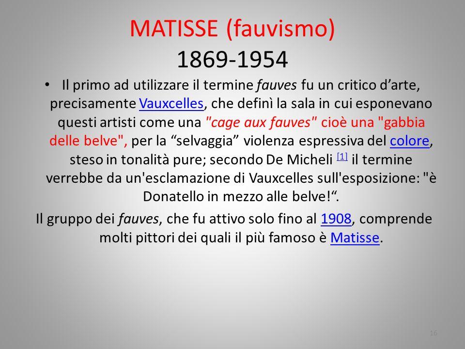 MATISSE (fauvismo) 1869-1954