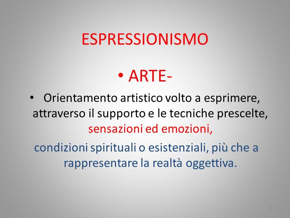 ESPRESSIONISMO ARTE- Orientamento artistico volto a esprimere, attraverso il supporto e le tecniche prescelte, sensazioni ed emozioni,