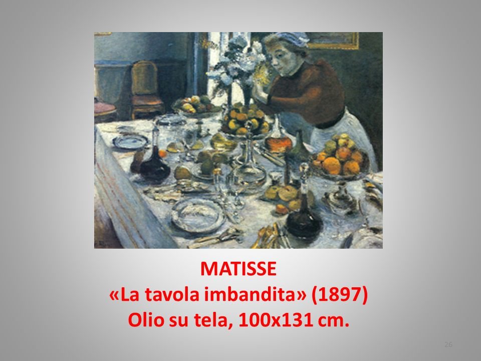 MATISSE «La tavola imbandita» (1897) Olio su tela, 100x131 cm.