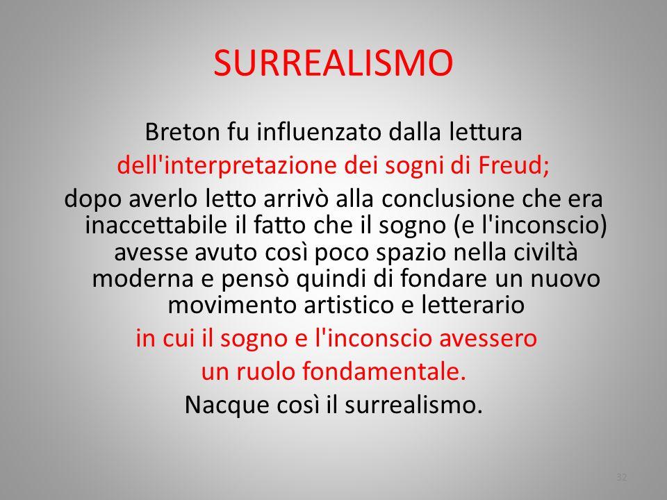 SURREALISMO Breton fu influenzato dalla lettura