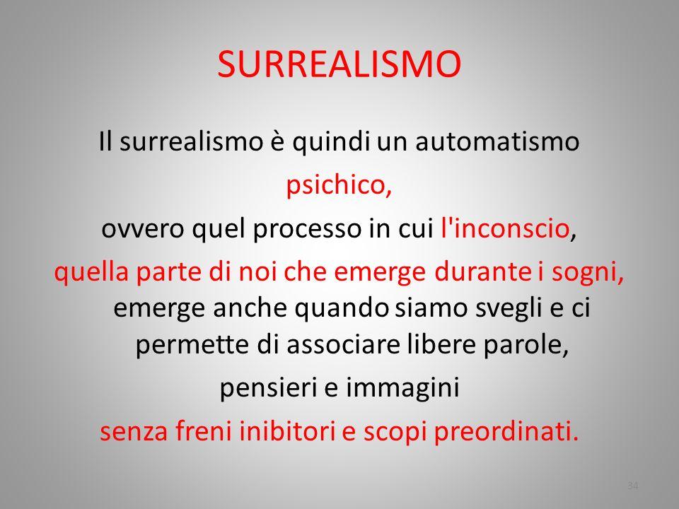SURREALISMO Il surrealismo è quindi un automatismo psichico,