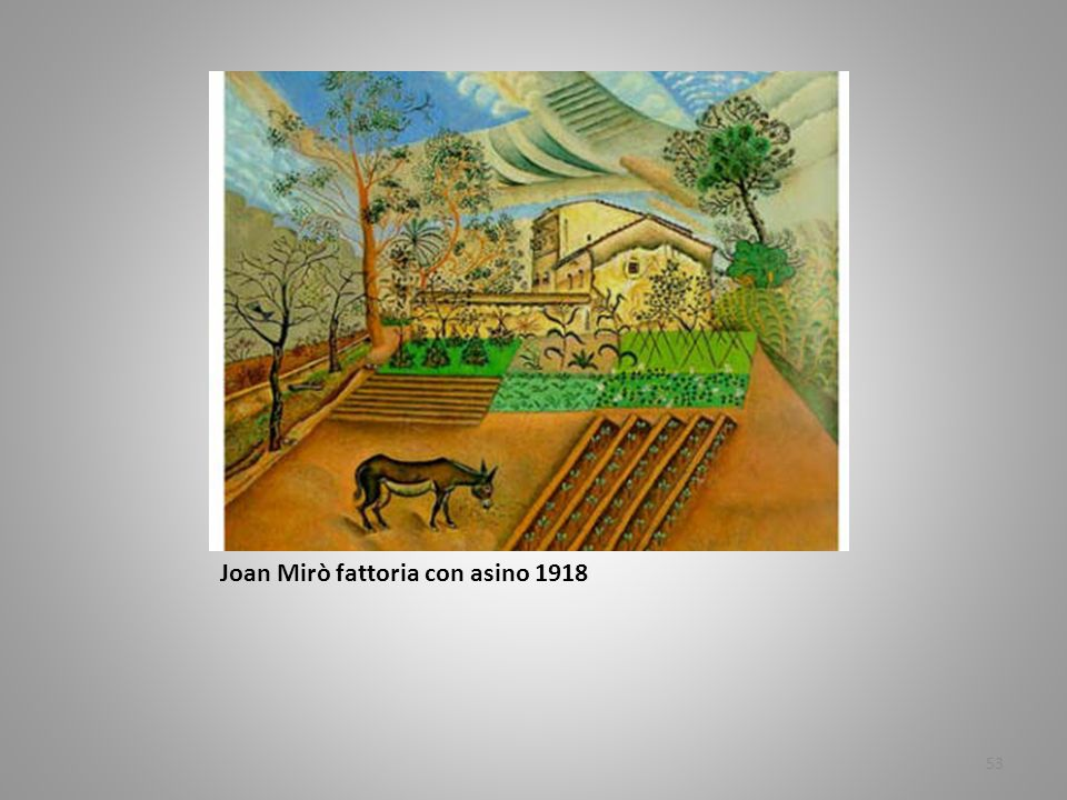 Joan Mirò fattoria con asino 1918