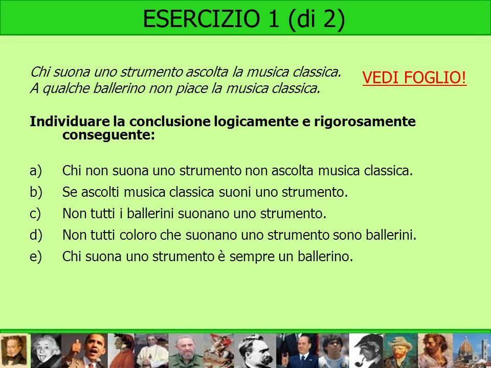 ESERCIZIO 1 (di 2) VEDI FOGLIO!