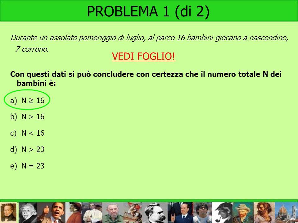 PROBLEMA 1 (di 2) VEDI FOGLIO!