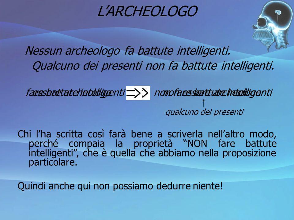 L'ARCHEOLOGO Nessun archeologo fa battute intelligenti.