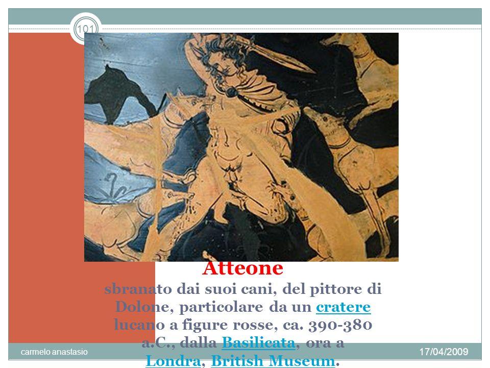 Atteone sbranato dai suoi cani, del pittore di Dolone, particolare da un cratere lucano a figure rosse, ca. 390-380 a.C., dalla Basilicata, ora a Londra, British Museum.