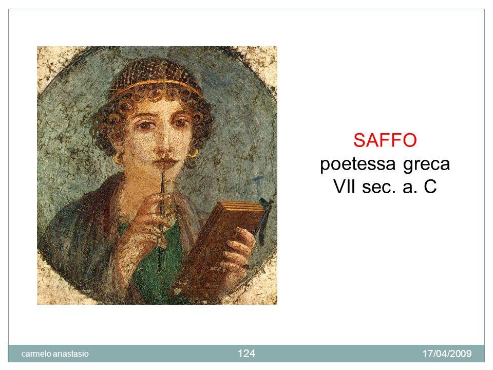 SAFFO poetessa greca VII sec. a. C carmelo anastasio 17/04/2009