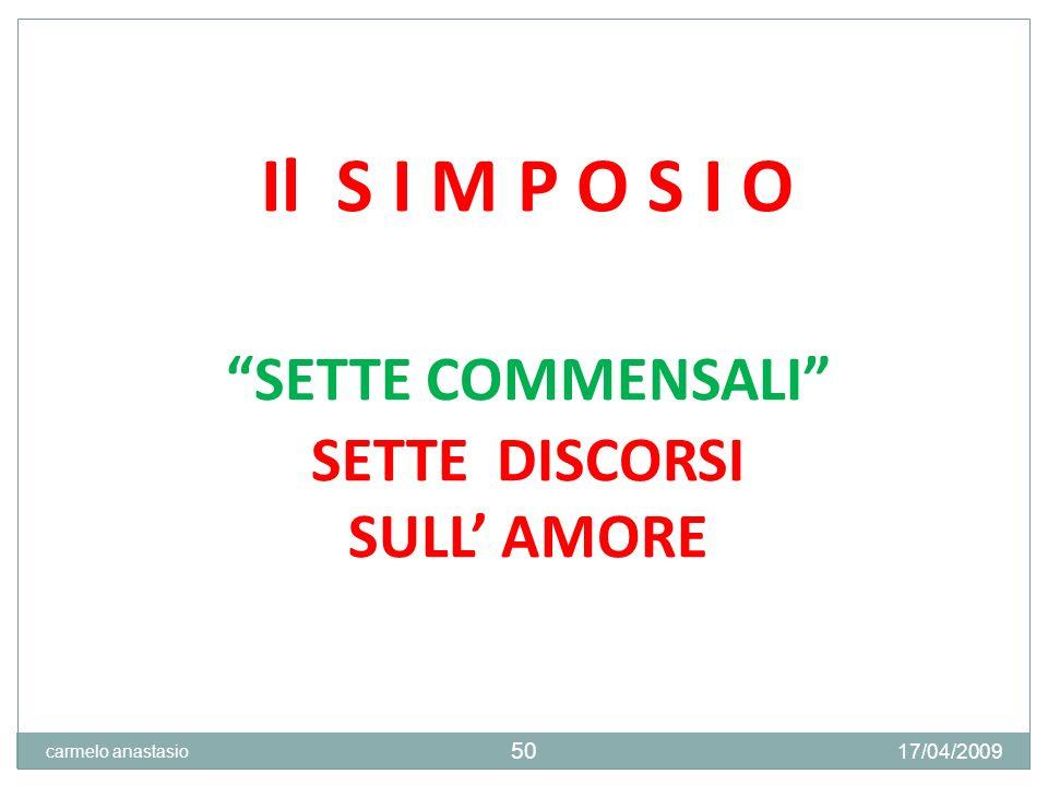 Il S I M P O S I O SETTE COMMENSALI SETTE DISCORSI SULL' AMORE