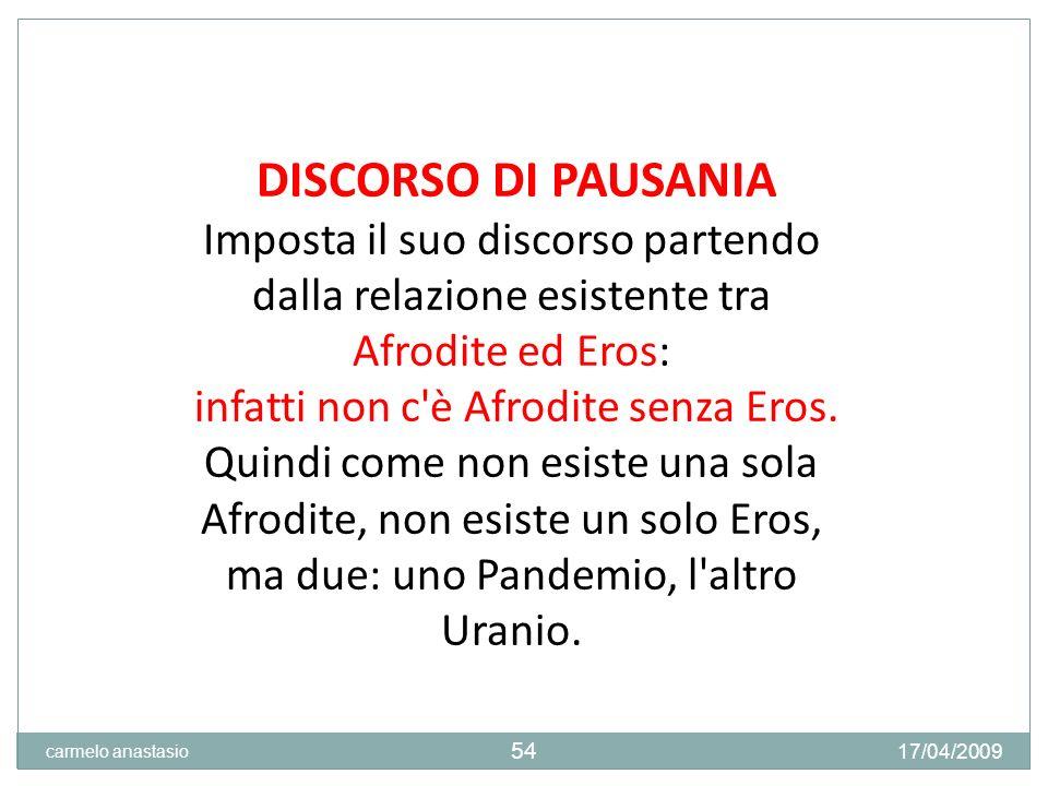 DISCORSO DI PAUSANIA Imposta il suo discorso partendo dalla relazione esistente tra Afrodite ed Eros: