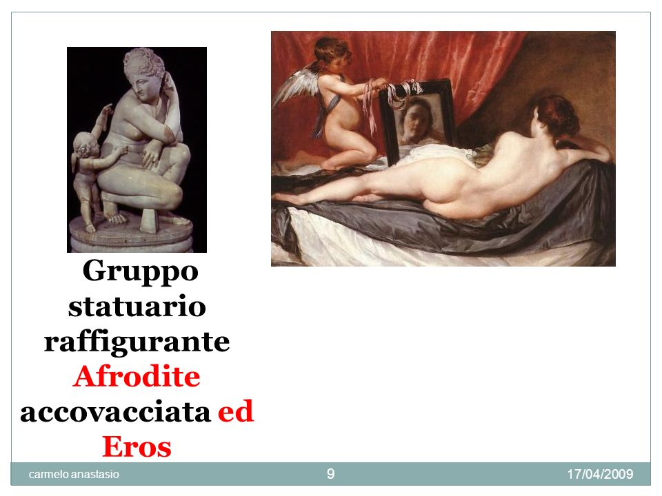 raffigurante Afrodite accovacciata ed Eros