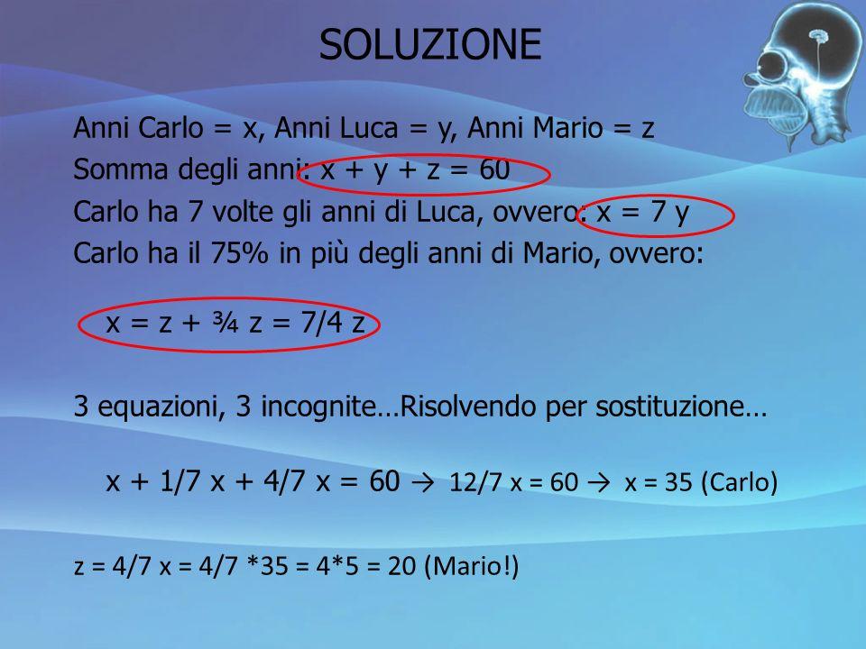 SOLUZIONE Anni Carlo = x, Anni Luca = y, Anni Mario = z