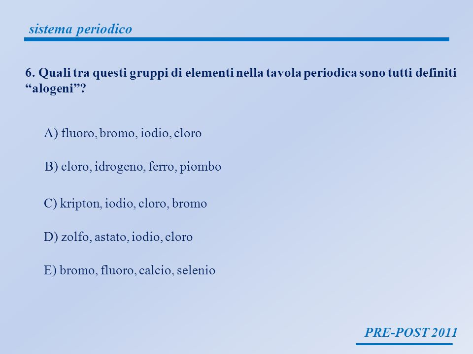sistema periodico 6. Quali tra questi gruppi di elementi nella tavola periodica sono tutti definiti alogeni