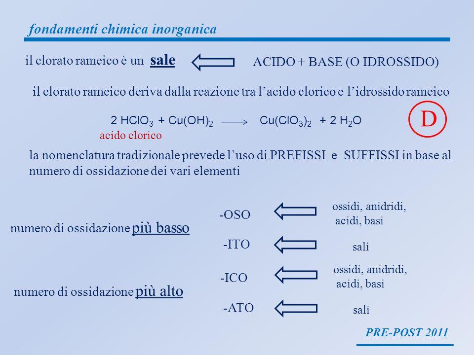 D fondamenti chimica inorganica il clorato rameico è un sale