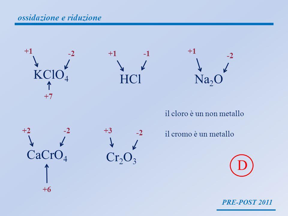 D KClO4 HCl Na2O CaCrO4 Cr2O3 ossidazione e riduzione +1 +1 -2 +1 -1