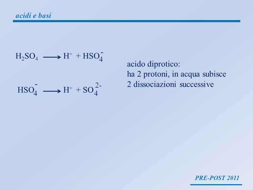 ha 2 protoni, in acqua subisce 2 dissociazioni successive