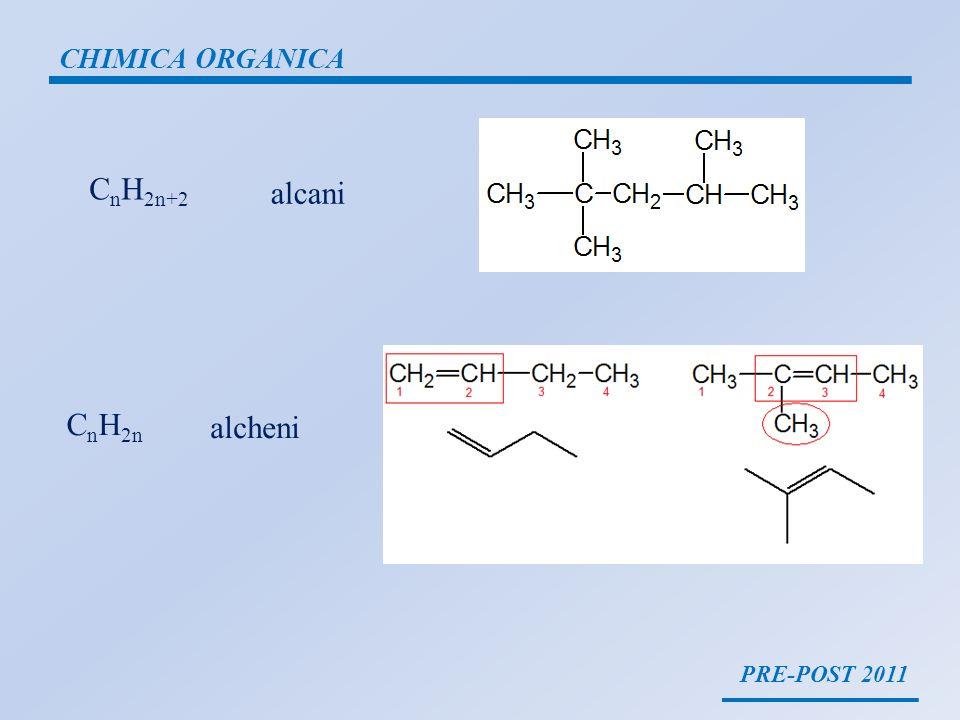 CHIMICA ORGANICA CnH2n+2 alcani CnH2n alcheni PRE-POST 2011
