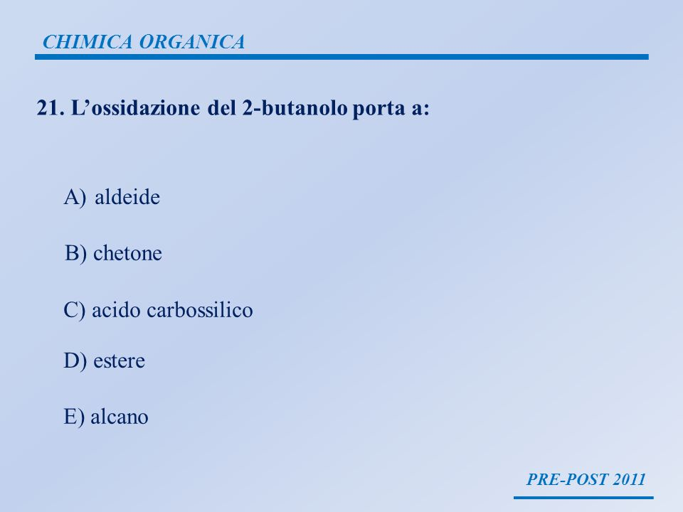 21. L'ossidazione del 2-butanolo porta a: