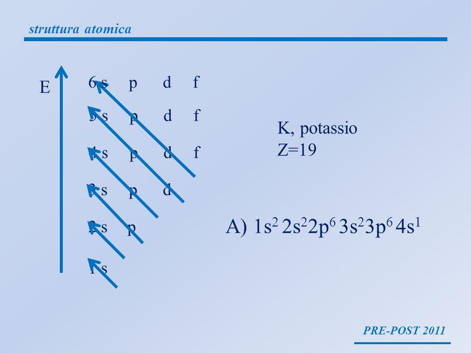 A) 1s2 2s22p6 3s23p6 4s1 E K, potassio Z=19 6 s p d f 5 s p d f