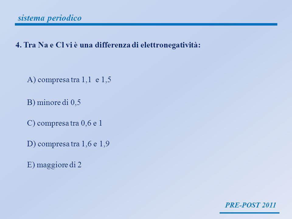sistema periodico 4. Tra Na e Cl vi è una differenza di elettronegatività: A) compresa tra 1,1 e 1,5.