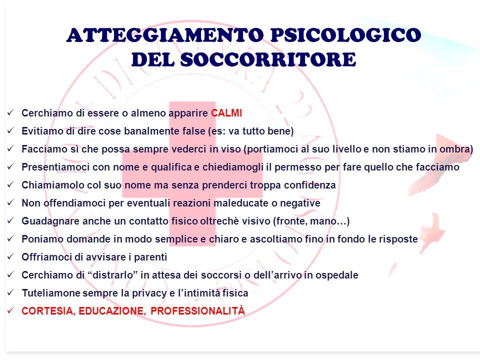ATTEGGIAMENTO PSICOLOGICO DEL SOCCORRITORE