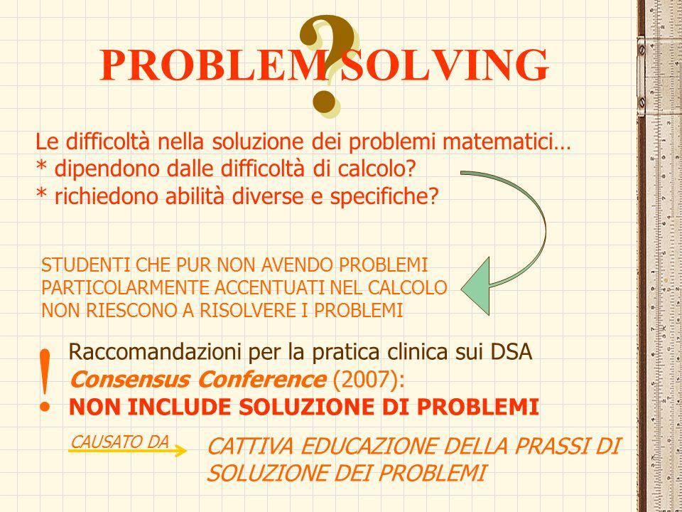 PROBLEM SOLVING. Le difficoltà nella soluzione dei problemi matematici… * dipendono dalle difficoltà di calcolo