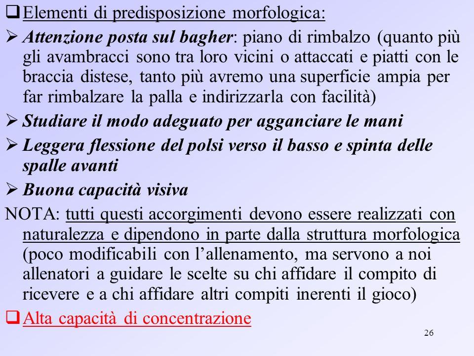 Elementi di predisposizione morfologica: