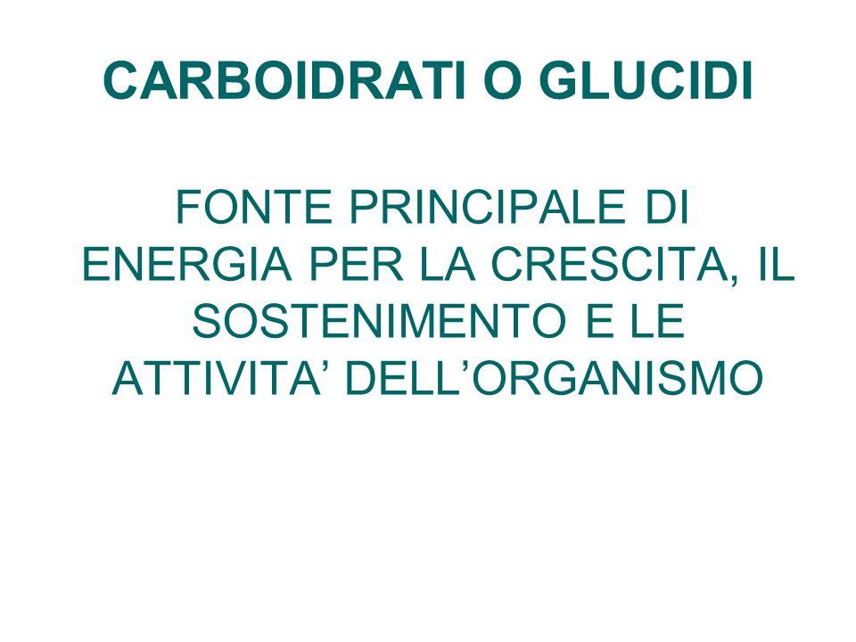 CARBOIDRATI O GLUCIDI FONTE PRINCIPALE DI ENERGIA PER LA CRESCITA, IL SOSTENIMENTO E LE ATTIVITA' DELL'ORGANISMO.