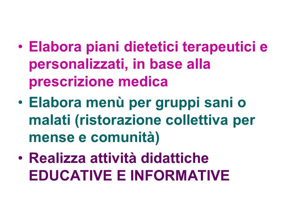 Elabora piani dietetici terapeutici e personalizzati, in base alla prescrizione medica