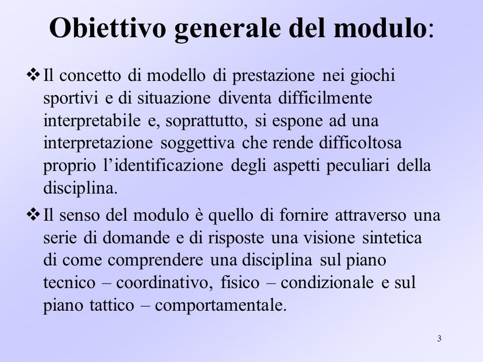 Obiettivo generale del modulo: