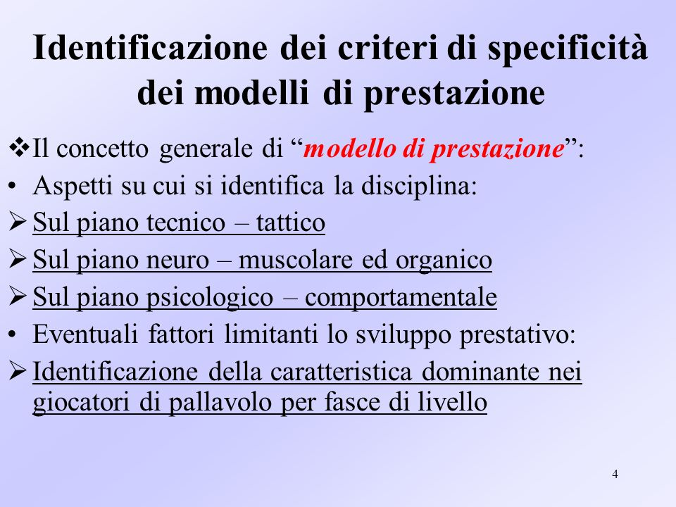 Identificazione dei criteri di specificità dei modelli di prestazione