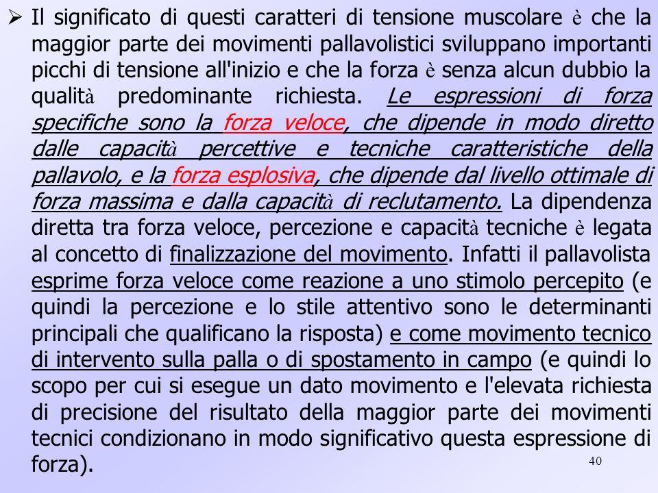 Il significato di questi caratteri di tensione muscolare è che la maggior parte dei movimenti pallavolistici sviluppano importanti picchi di tensione all inizio e che la forza è senza alcun dubbio la qualità predominante richiesta.