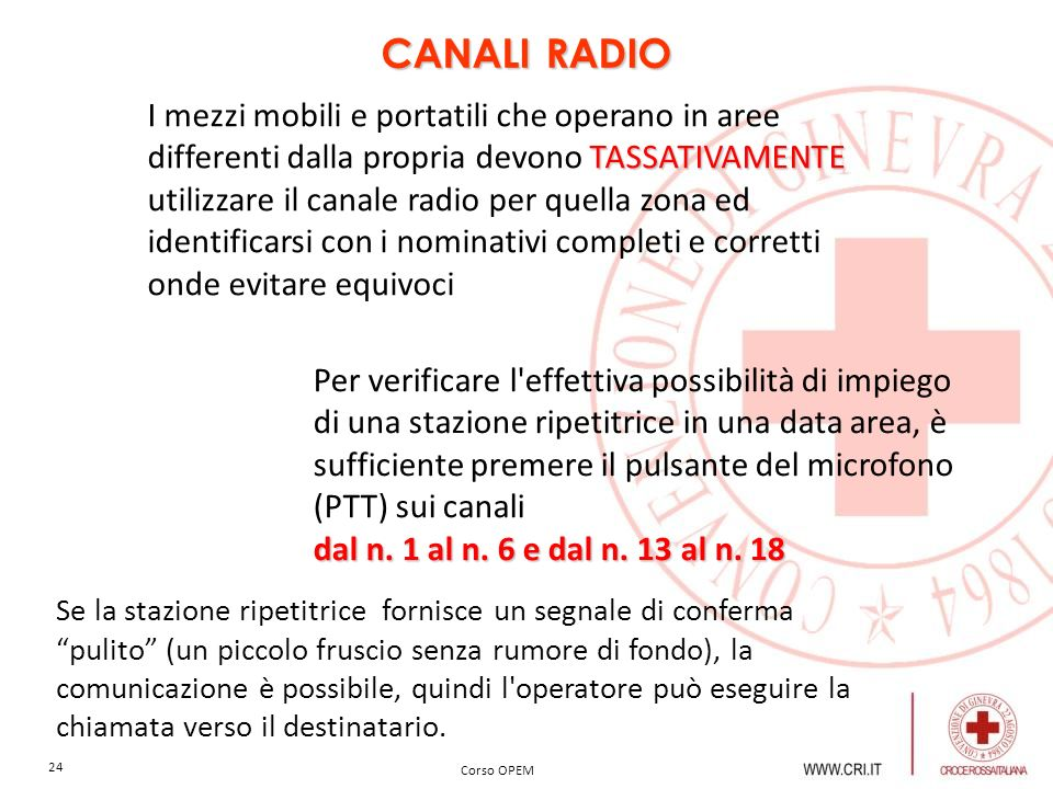 CANALI RADIO I mezzi mobili e portatili che operano in aree differenti dalla propria devono TASSATIVAMENTE.