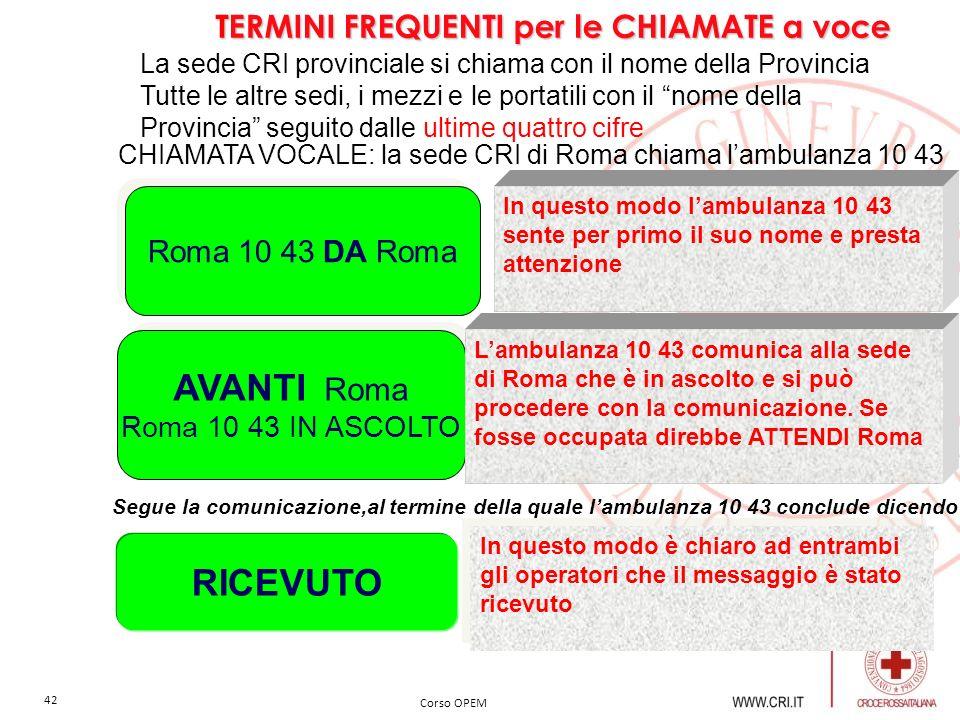 AVANTI Roma RICEVUTO TERMINI FREQUENTI per le CHIAMATE a voce
