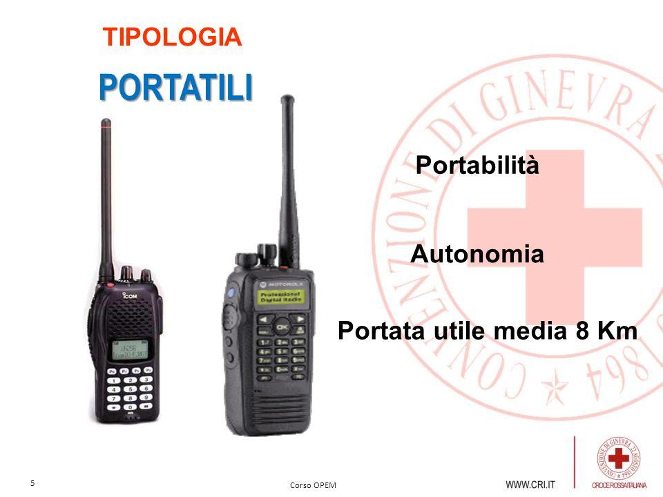 TIPOLOGIA PORTATILI Portabilità Autonomia Portata utile media 8 Km