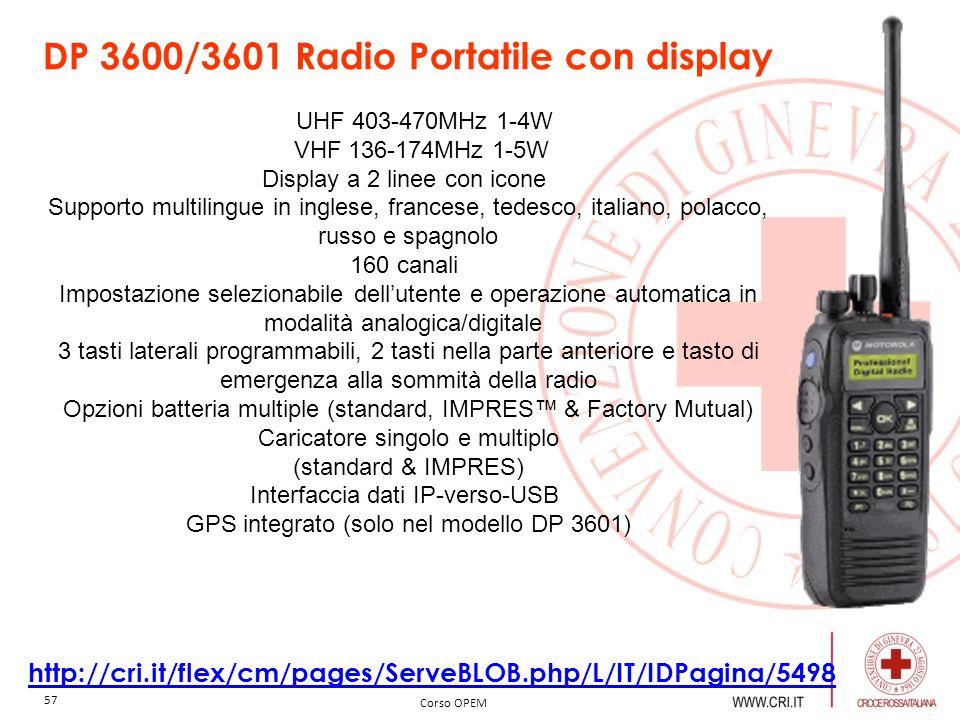DP 3600/3601 Radio Portatile con display