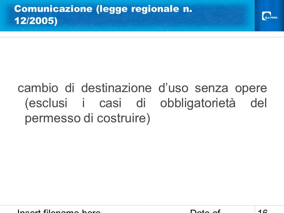 Comunicazione (legge regionale n. 12/2005)